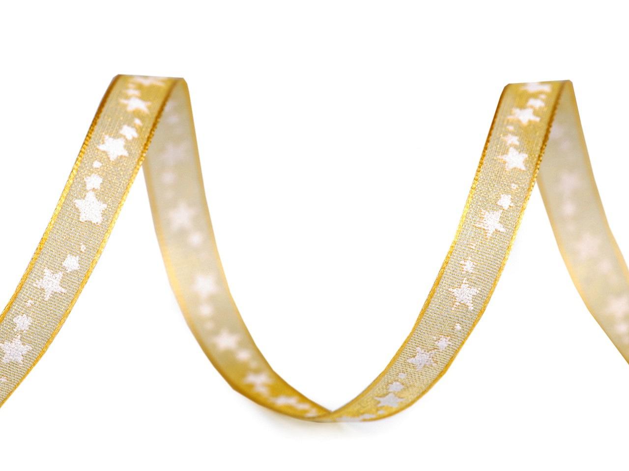 Monofilová stuha hvězdy šíře 6 mm, barva 1 (220) zlatá