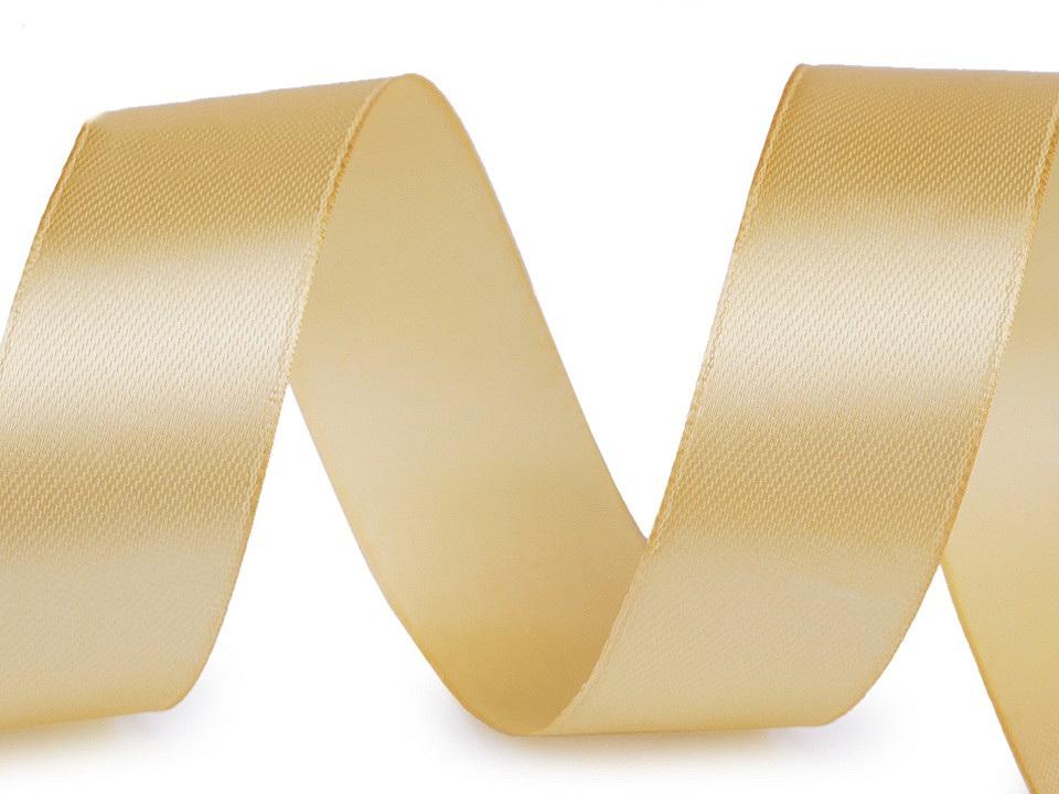 Atlasová stuha šíře 25 mm, barva 87 zlatá sv.