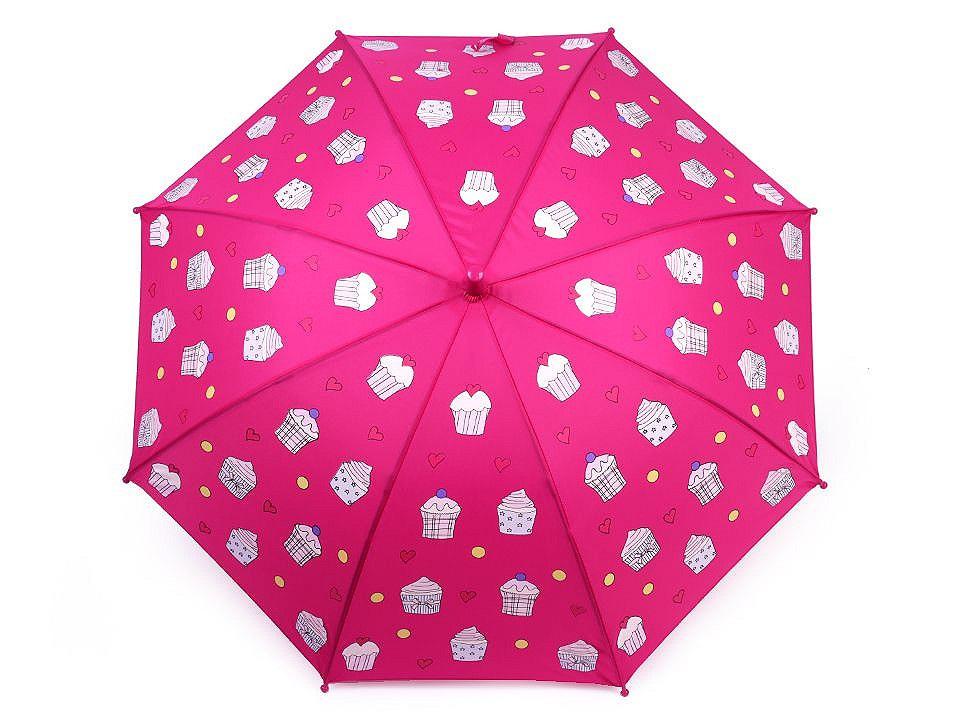 Dětský deštník kouzelný cupcakes, příšerky, auta, barva 2 pink cupcake