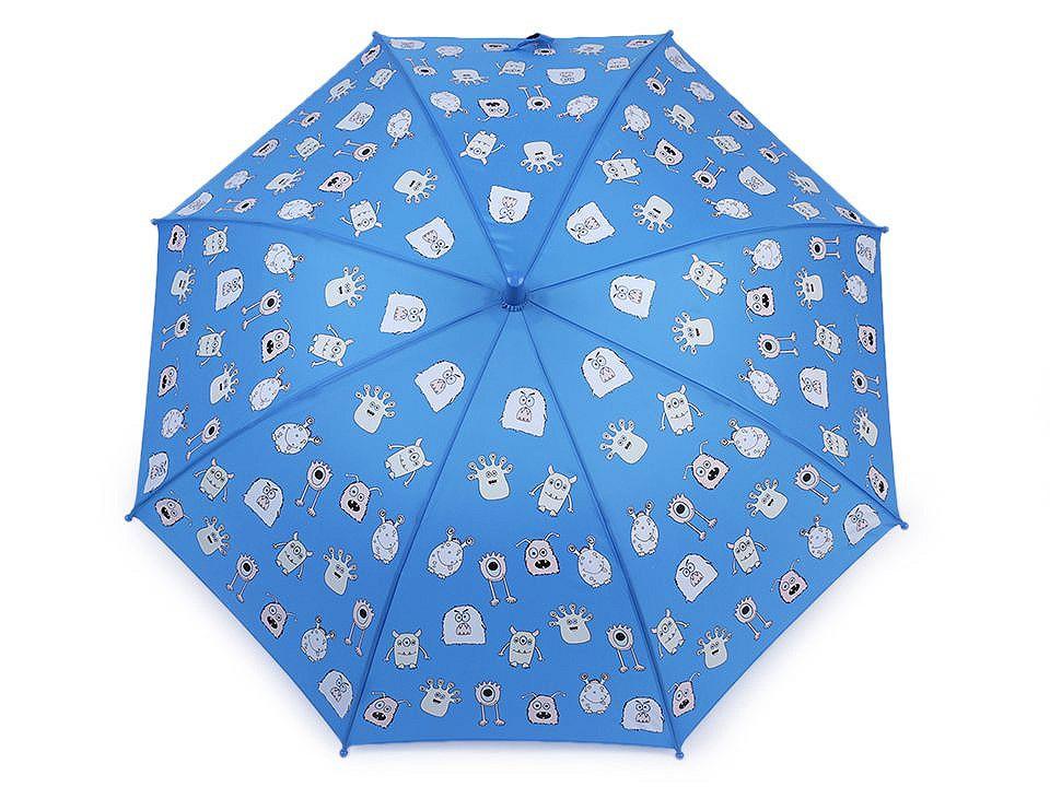Dětský deštník kouzelný cupcakes, příšerky, auta, barva 3 modrá příšerky
