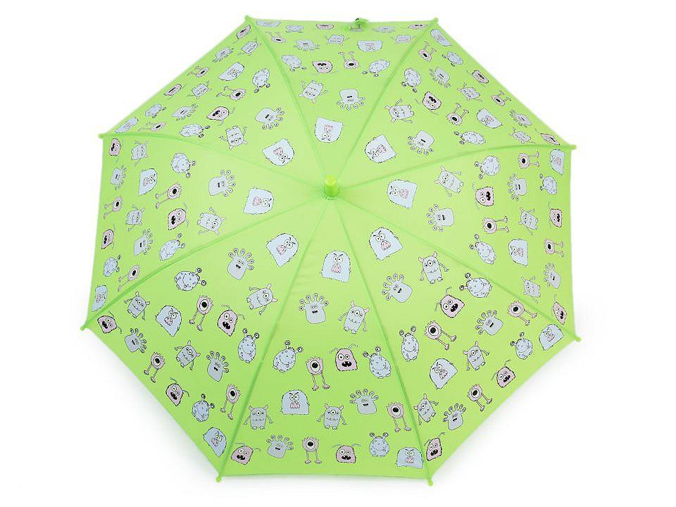 Dětský deštník kouzelný cupcakes, příšerky, auta, barva 4 zelená sv. příšerky