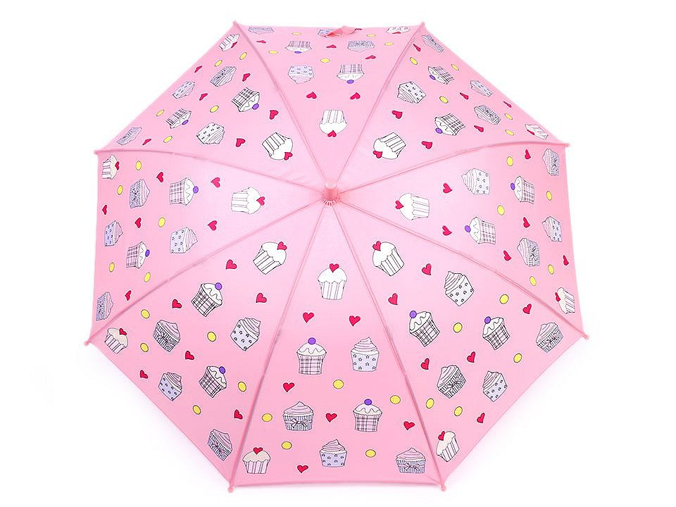 Dětský deštník kouzelný cupcakes, příšerky, auta, barva 1 růžová sv. cupcake