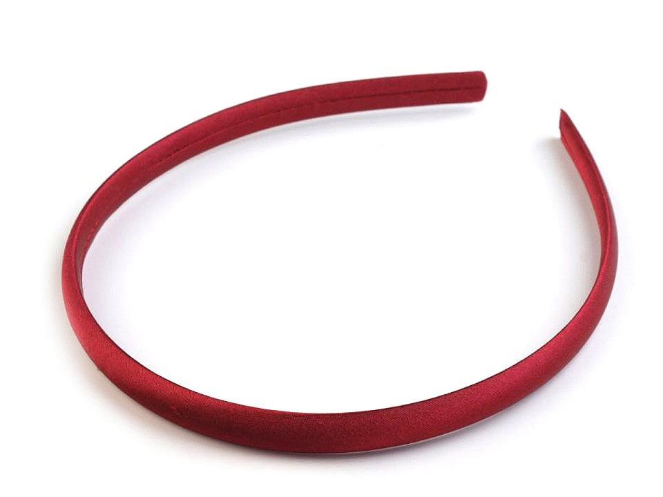 Saténová čelenka do vlasů, barva 18 červená tmavá