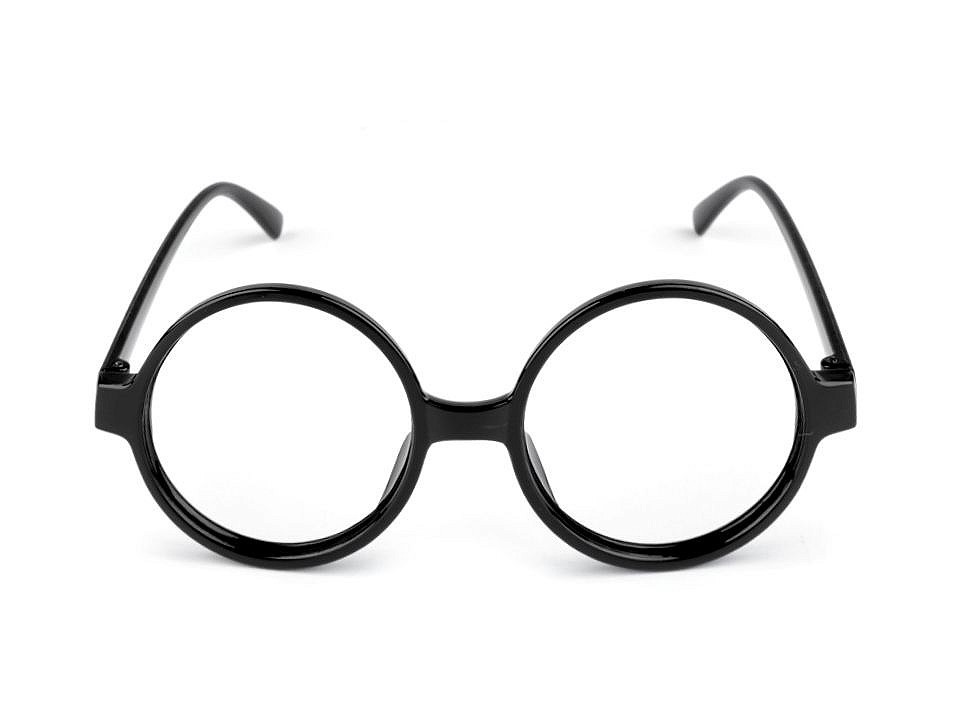 Karnevalové brýle kulaté, barva 5 černá
