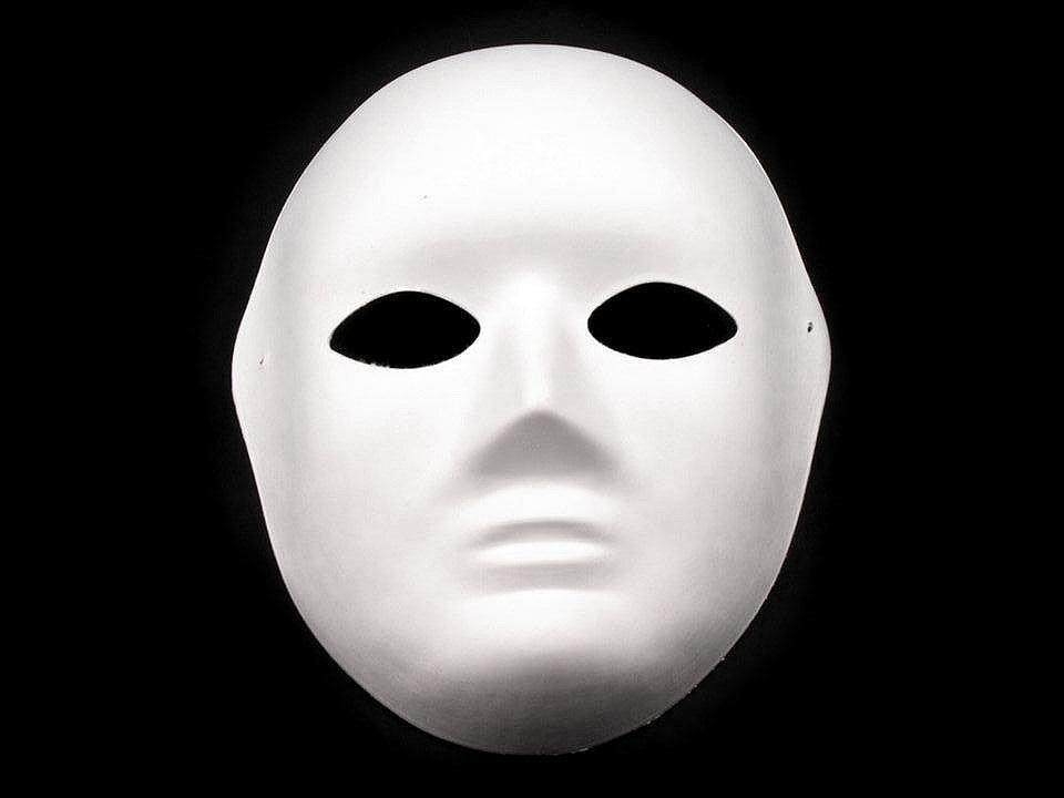 Maska na obličej k domalování, barva 1 bílá dámská
