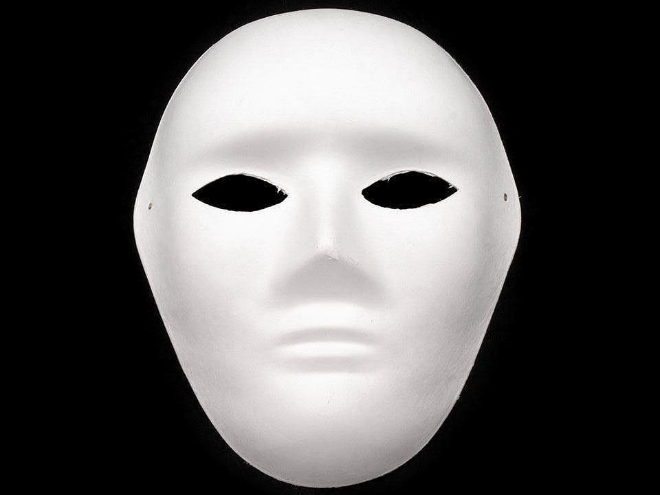Maska na obličej k domalování, barva 2 bílá pánská
