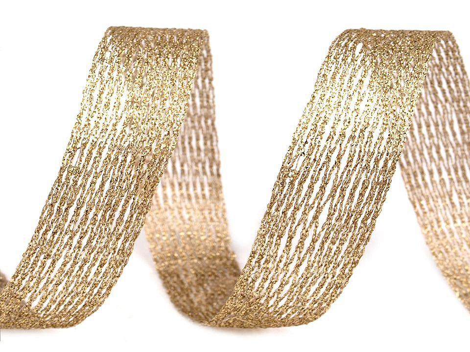 Tvarovací síťka / stuha s lurexem a drátem, barva 2 zlatá