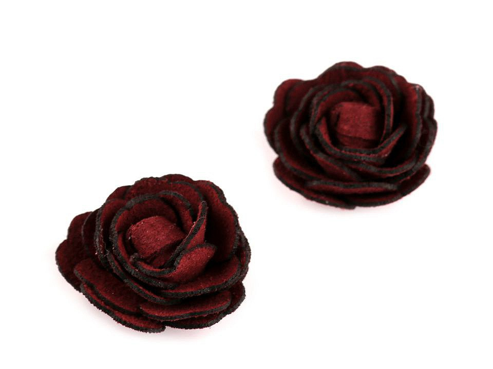 Květ růže Ø20 mm eko kůže, barva 6 bordó