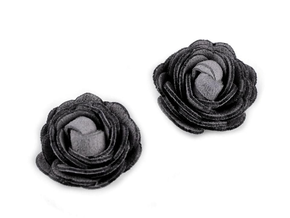 Květ růže Ø20 mm eko kůže, barva 5 šedá