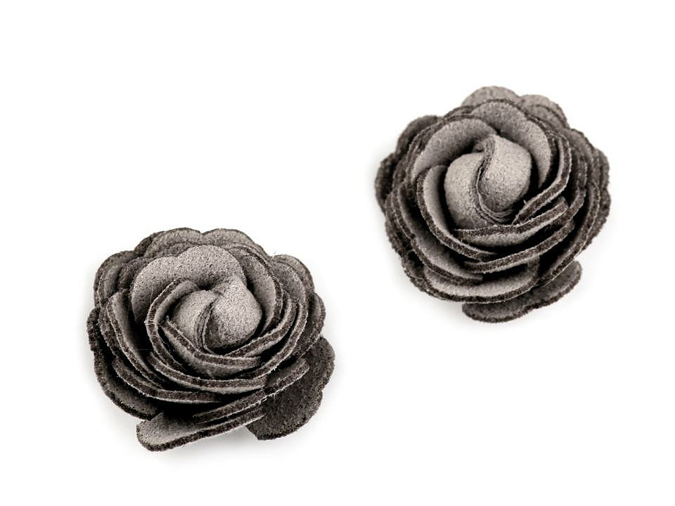 Květ růže Ø20 mm eko kůže, barva 2 šedá holubí