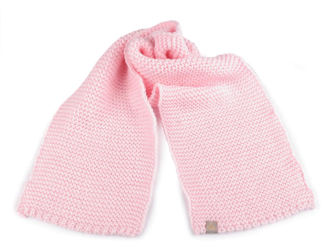 Dětská zimní šála 17x100 cm, barva 1 růžová sv.