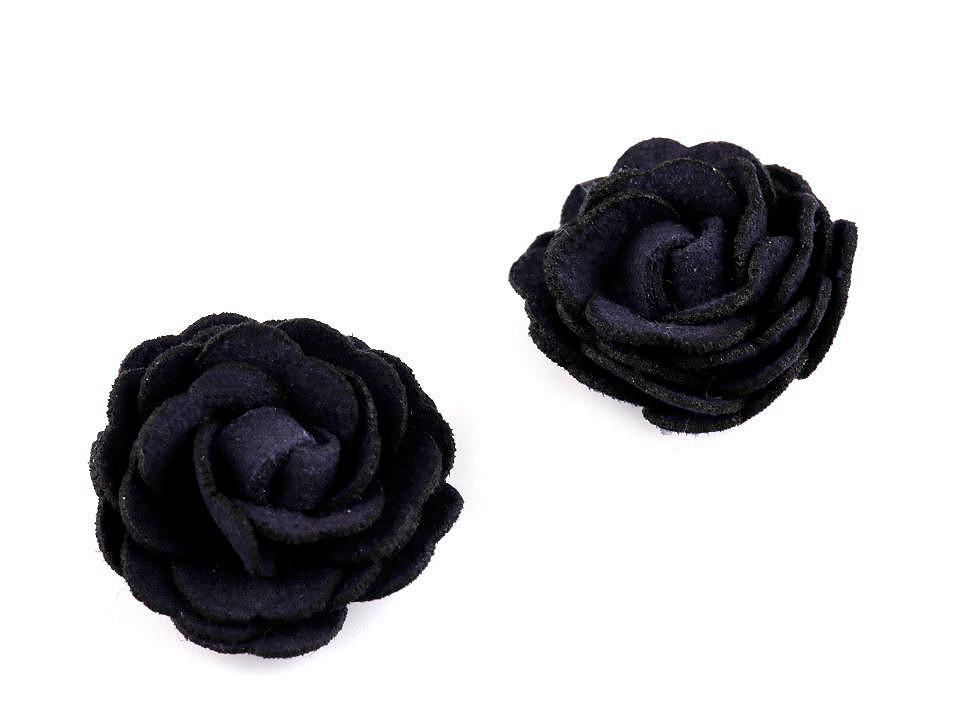 Květ růže Ø20 mm eko kůže, barva 7 modrá tmavá
