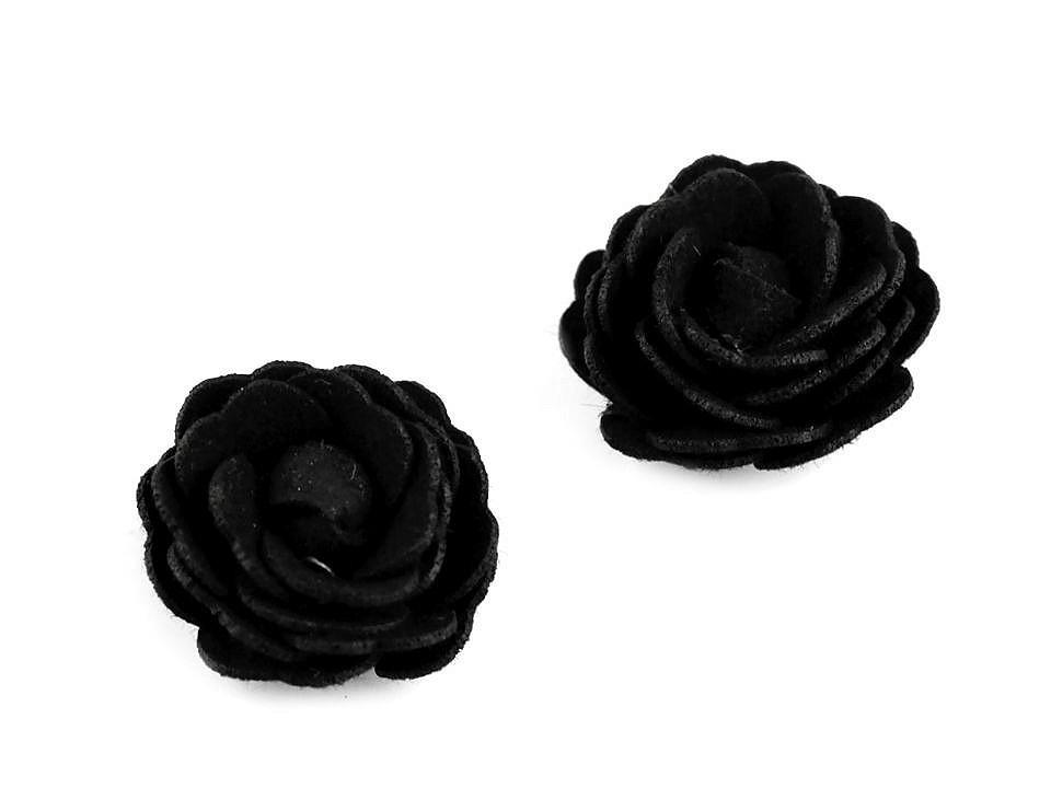Květ růže Ø20 mm eko kůže, barva 8 černá