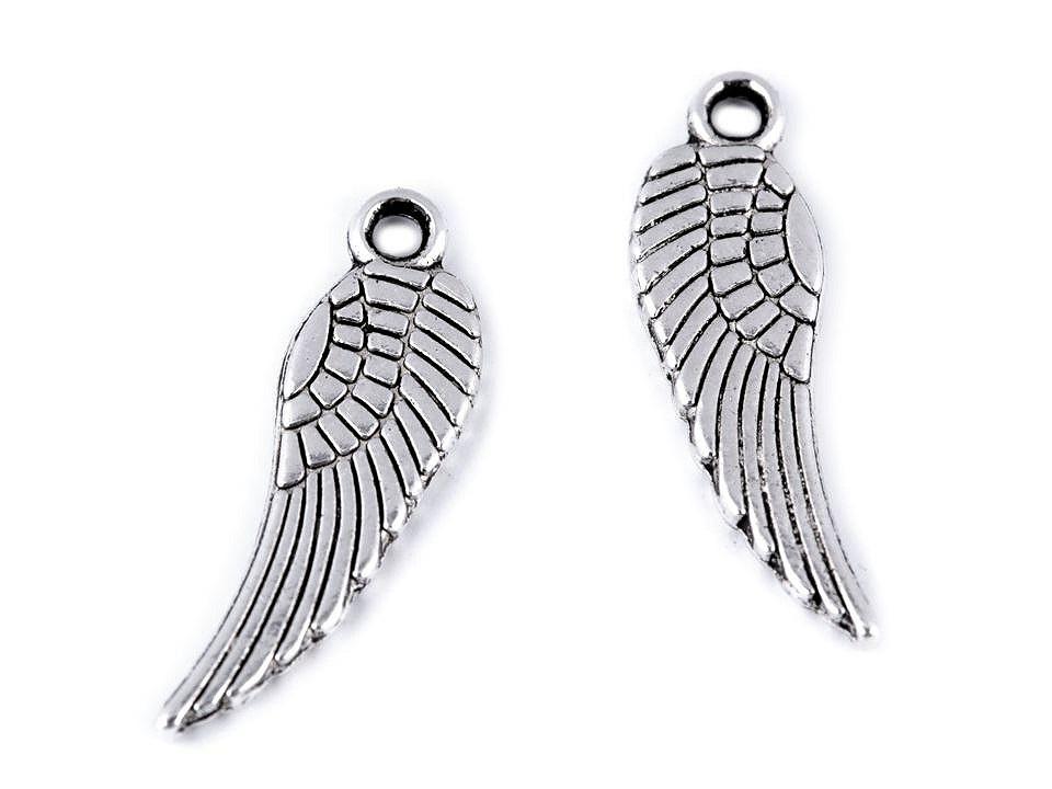 Přívěsek andělské křídlo 5x17 mm, barva platina