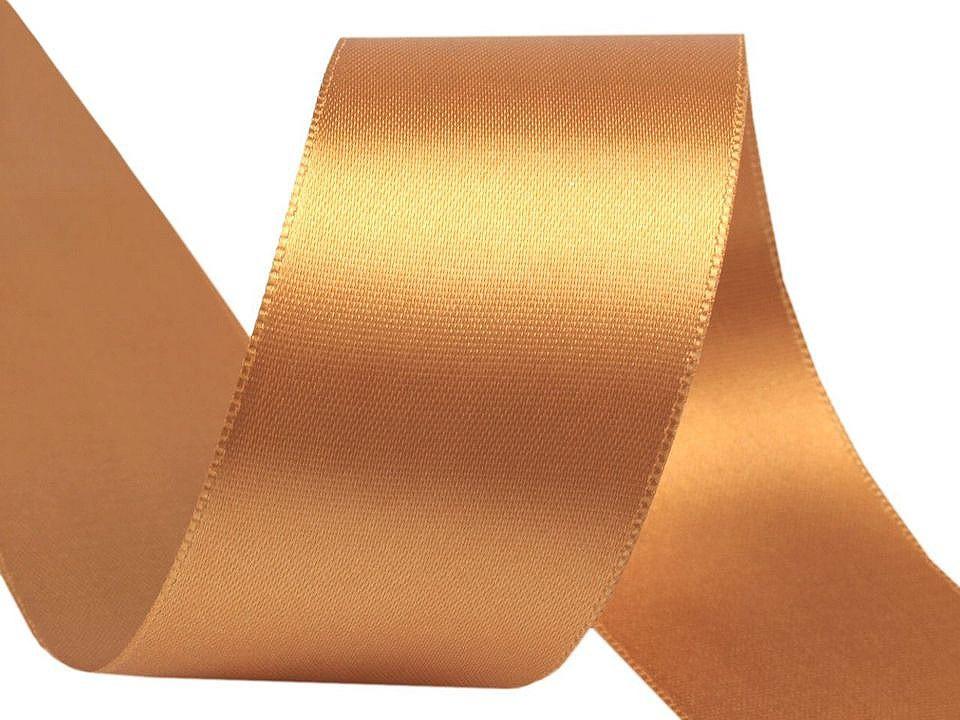 Atlasová stuha oboulící šíře 40 mm, barva 080742 zlatá stř.