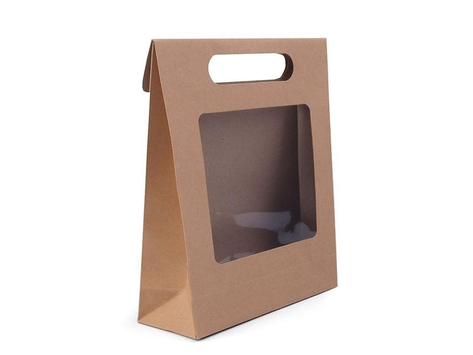 Papírová taška natural s průhledem, barva hnědá přírodní