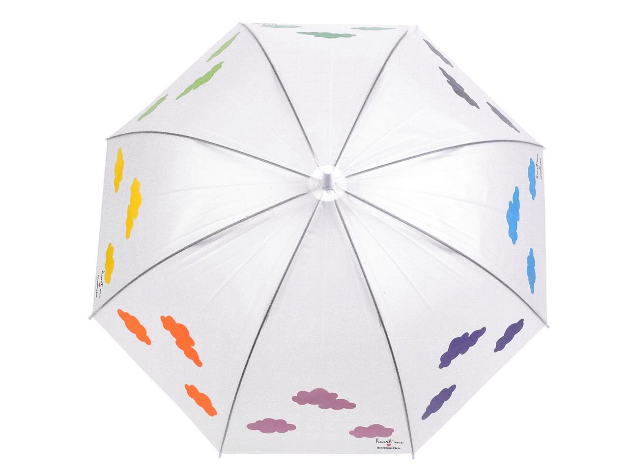 Dámský vystřelovací deštník kouzelný s mraky