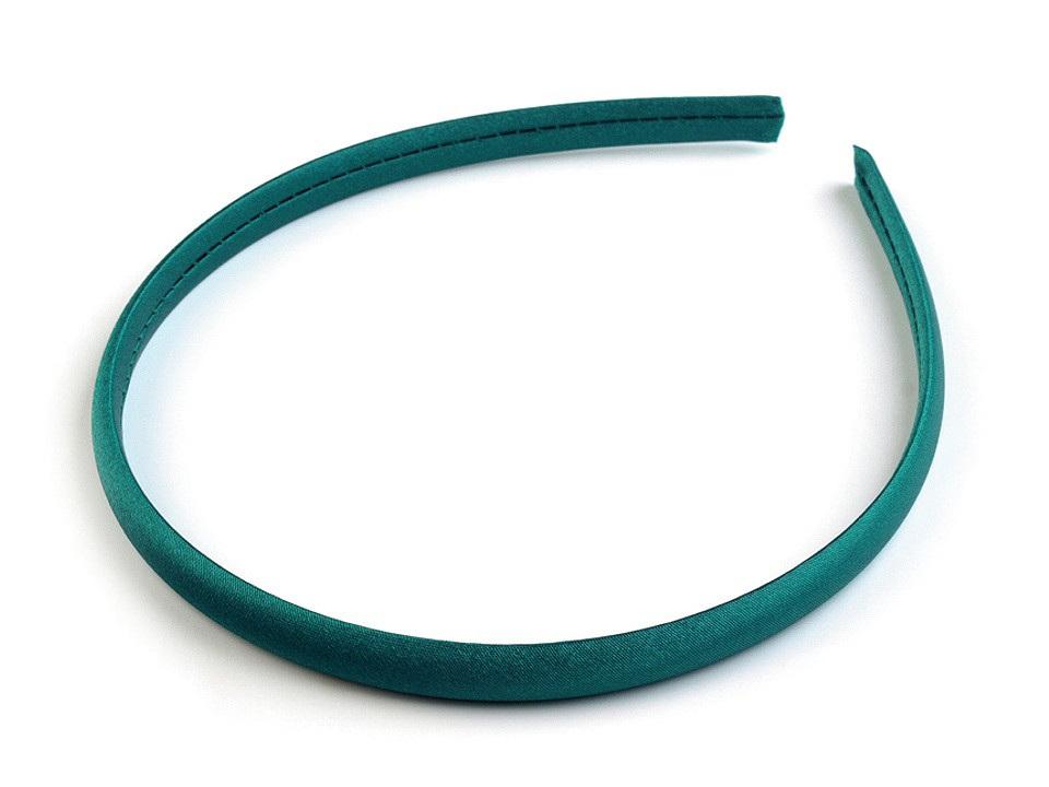 Saténová čelenka do vlasů, barva 10 zelená smaragdová
