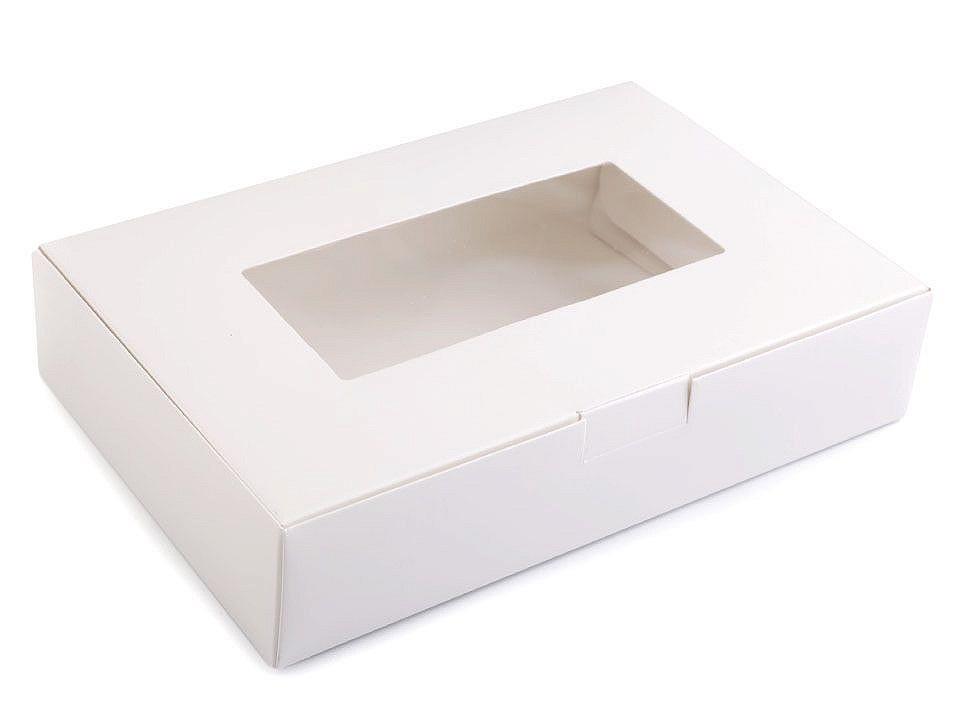 Papírová krabice s průhledem, barva 1 bílá