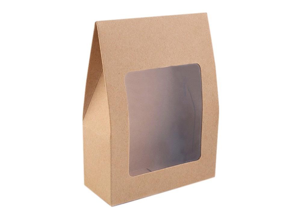 Papírová krabice natural s průhledem, barva hnědá přírodní
