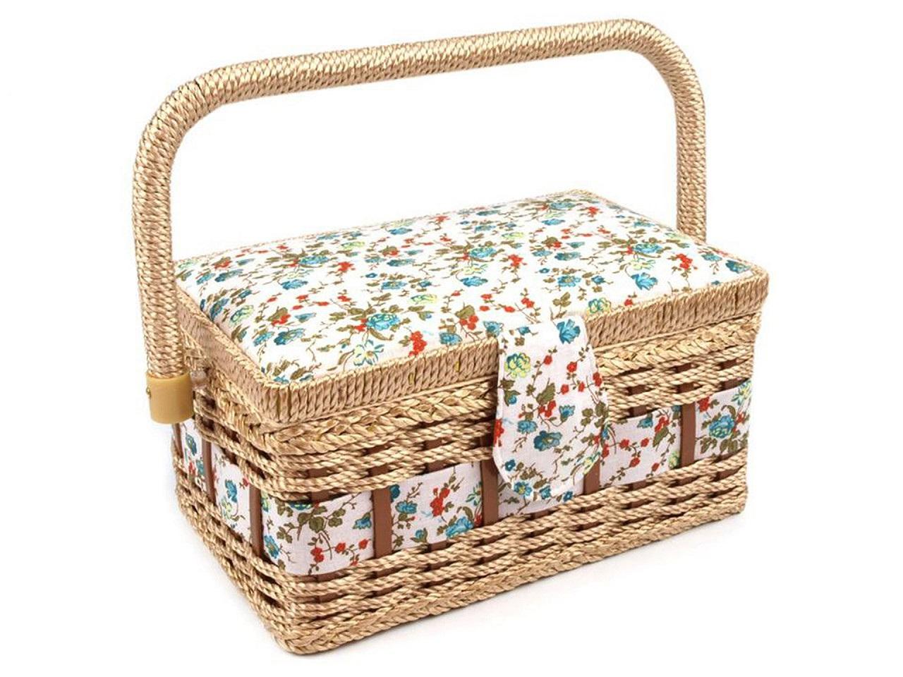 Kazeta / košík na šití čalouněný, barva 2 bílá