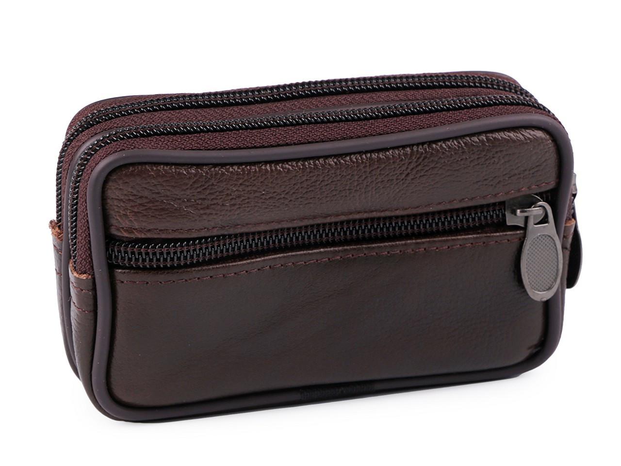 Pánské pouzdro / peněženka na opasek na mobil / doklady, kožené 10x17 cm, barva 4 (9x14 cm) hnědá