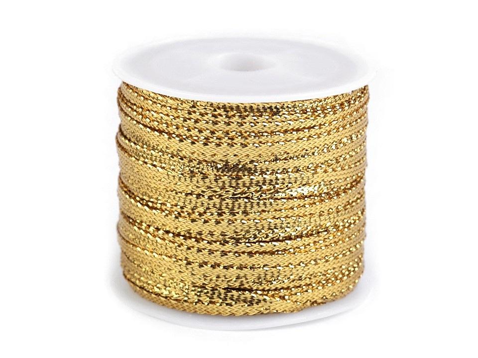 Stuha s lurexem šíře 3 mm, barva 2 zlatá sv.