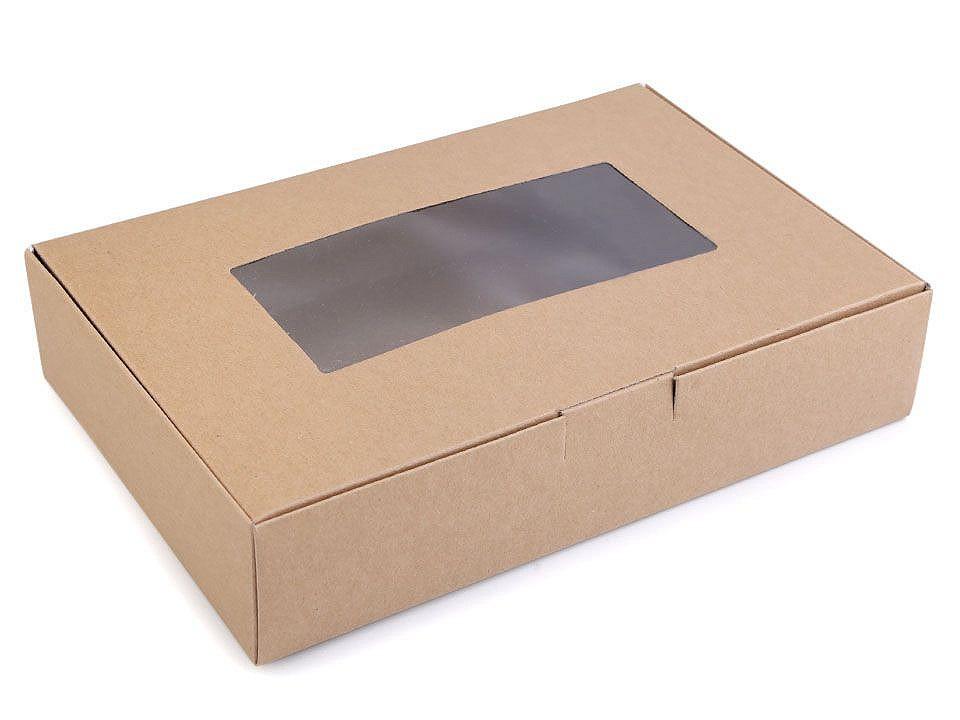 Papírová krabice s průhledem, barva 2 hnědá přírodní