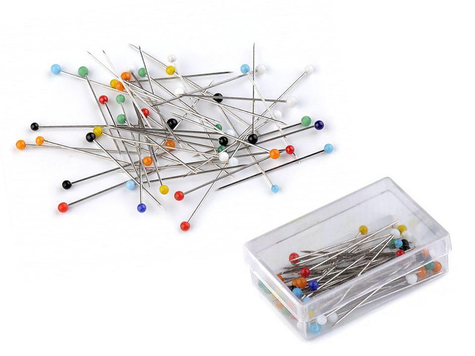 Špendlíky se skleněnou hlavičkou délka 30 mm