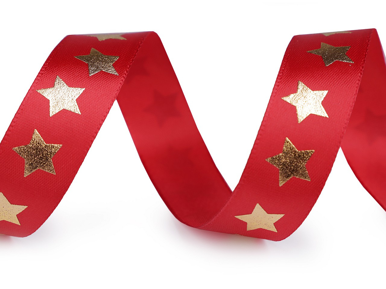 Saténová stuha hvězdy šíře 20 mm, barva 3 červená zlatá