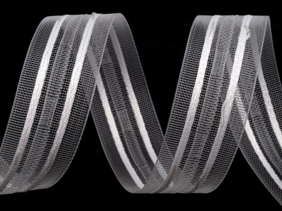 Záclonovka šíře 25 mm tužkové řasení, barva Průhledná