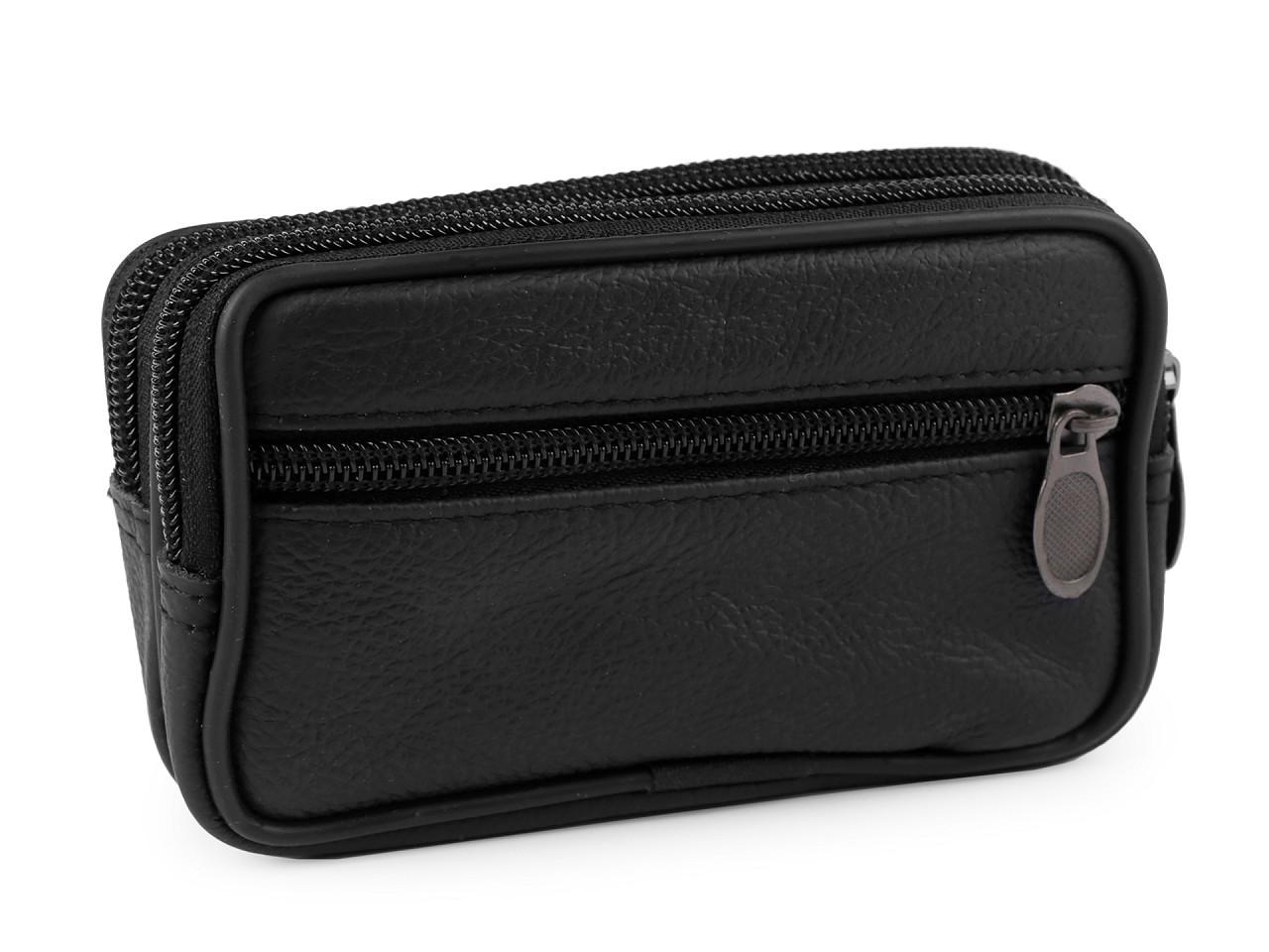 Pánské pouzdro / peněženka na opasek na mobil / doklady, kožené 10x17 cm, barva 3 (9x14 cm) černá