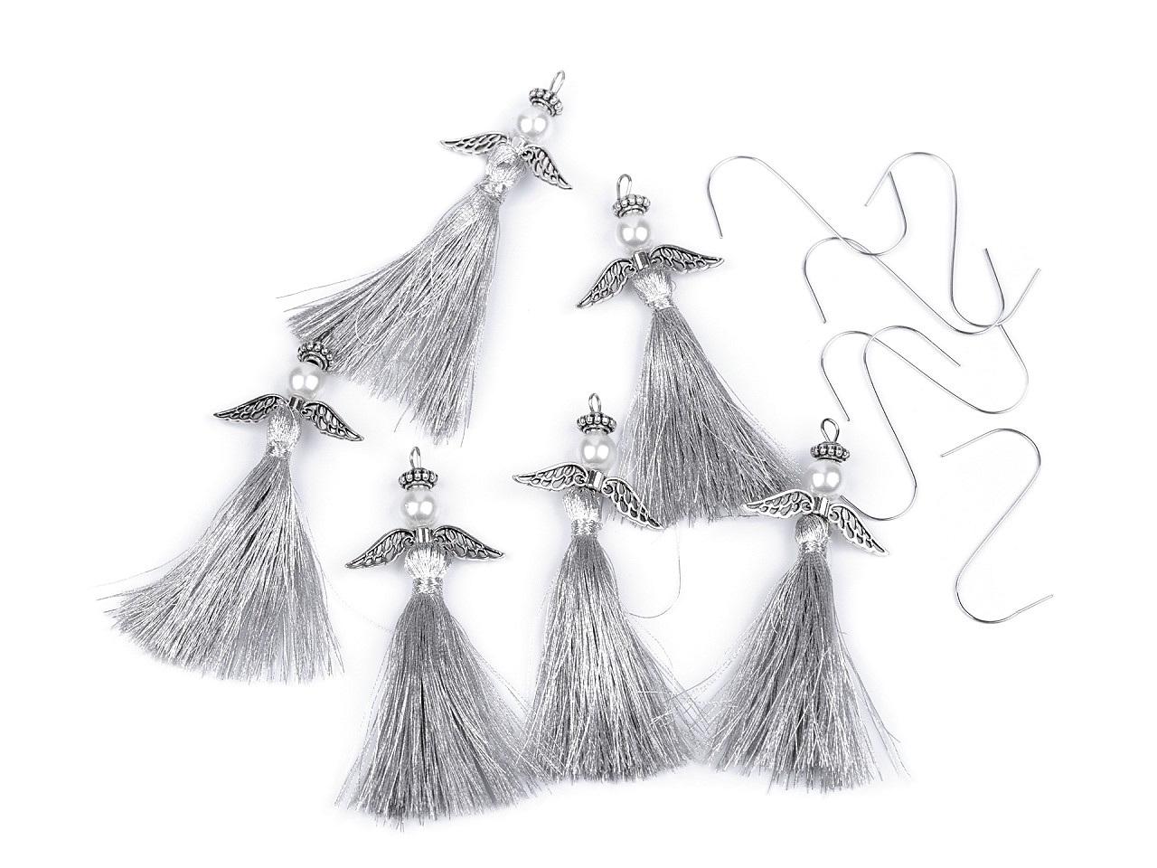 Sada vánočních ozdob - anděl, barva 1 stříbrná