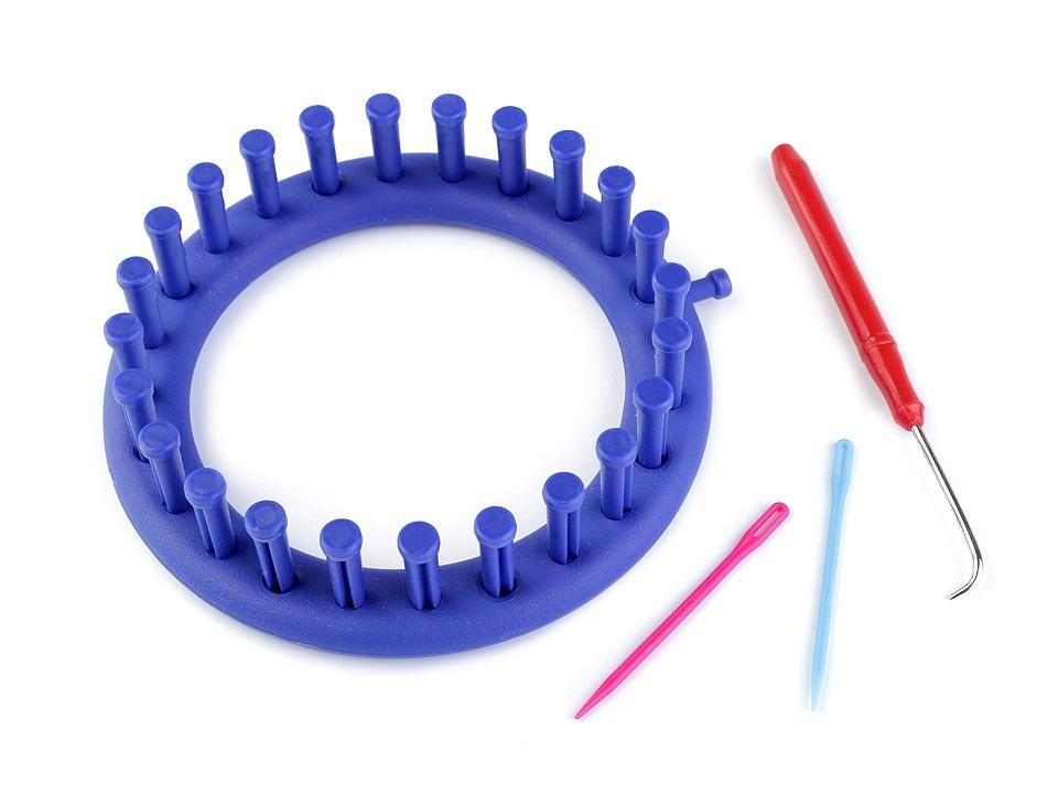 Sada na pletení kruh Ø14 cm, barva modrá safírová