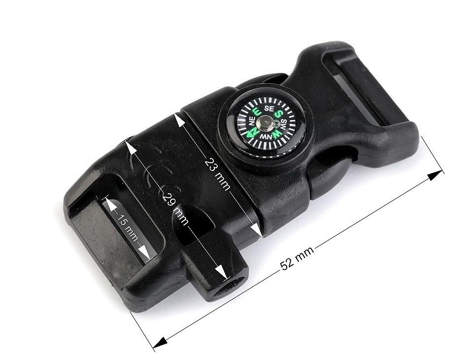 Spona trojzubec s píšťalkou a kompasem šíře 15 mm