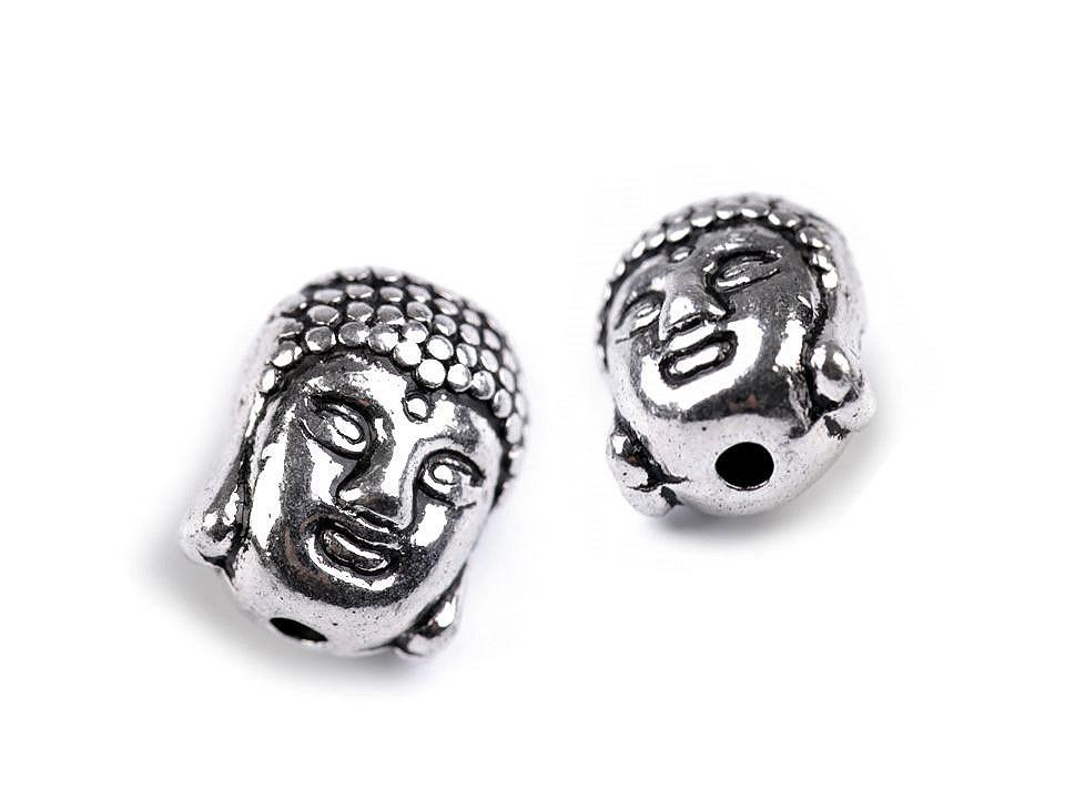 Kovový korálek Buddha 9x11 mm