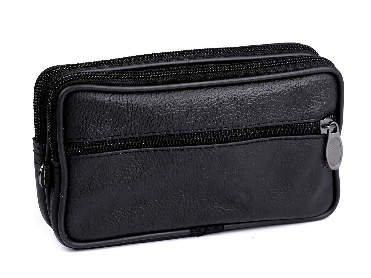 Pánské pouzdro / peněženka na opasek na mobil / doklady, kožené 10x17 cm, barva 2 černá