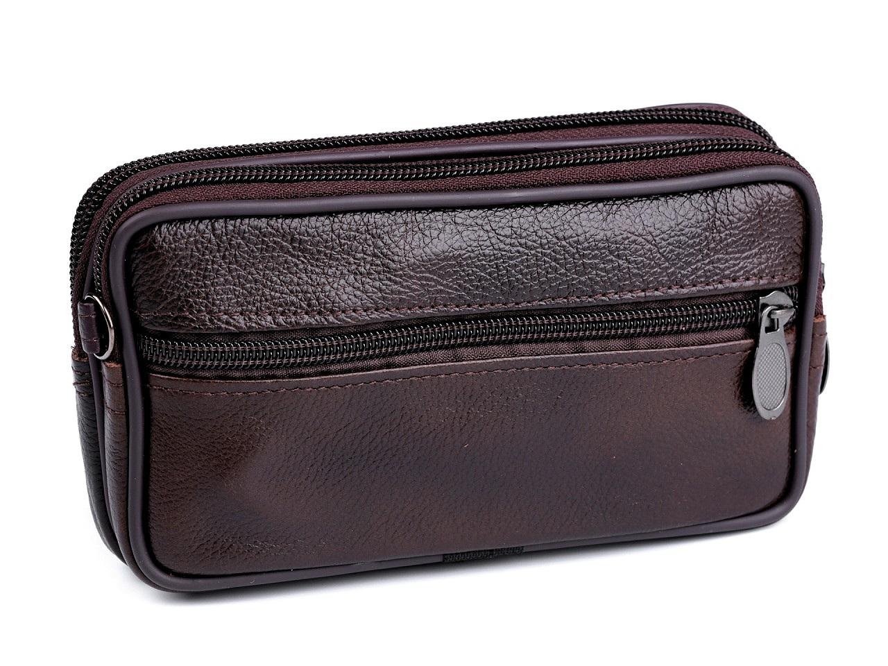 Pánské pouzdro / peněženka na opasek na mobil / doklady, kožené 10x17 cm, barva 1 hnědá