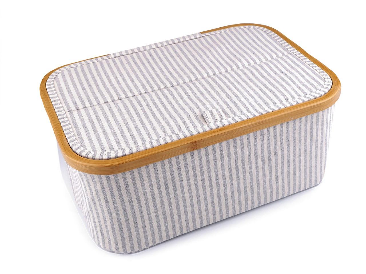 Skládací box na šicí potřeby a pletení, barva 2 modrá sv. proužky