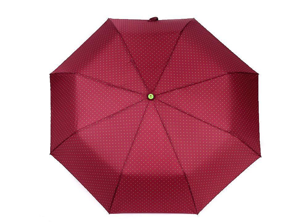 Dámský skládací vystřelovací deštník s puntíky