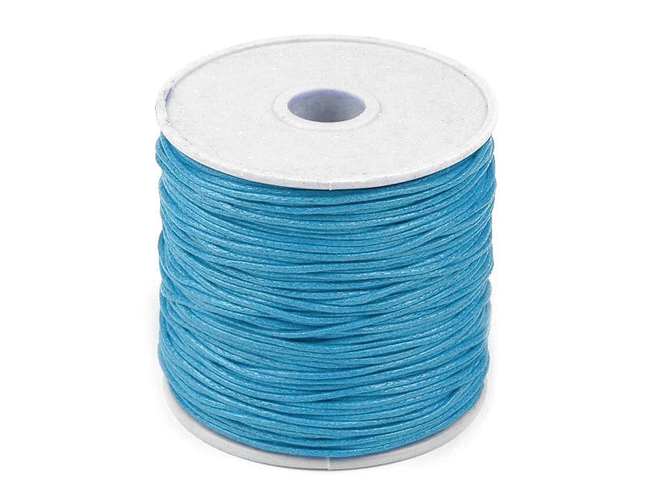 Šňůra bavlněná Ø1 mm voskovaná, barva 30 modrá