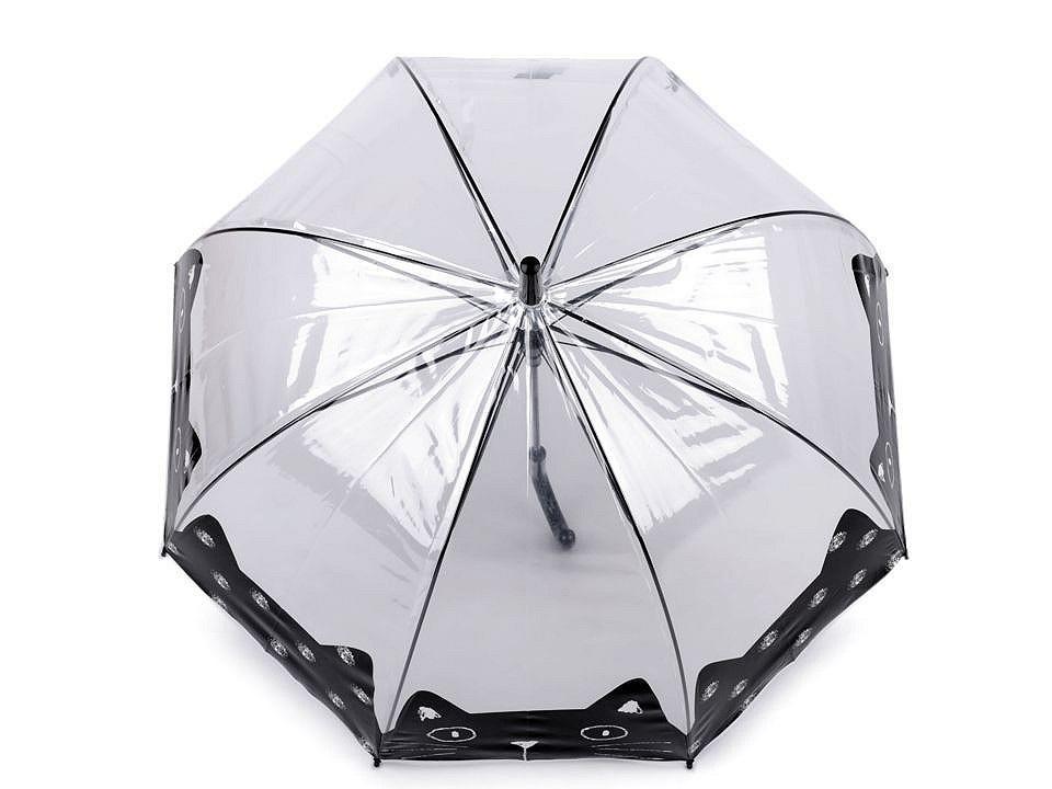 Dívčí průhledný deštník kočka, barva 4 černá
