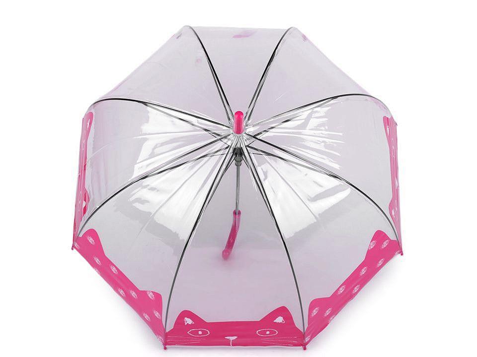Dívčí průhledný deštník kočka, barva 3 růžová malinová