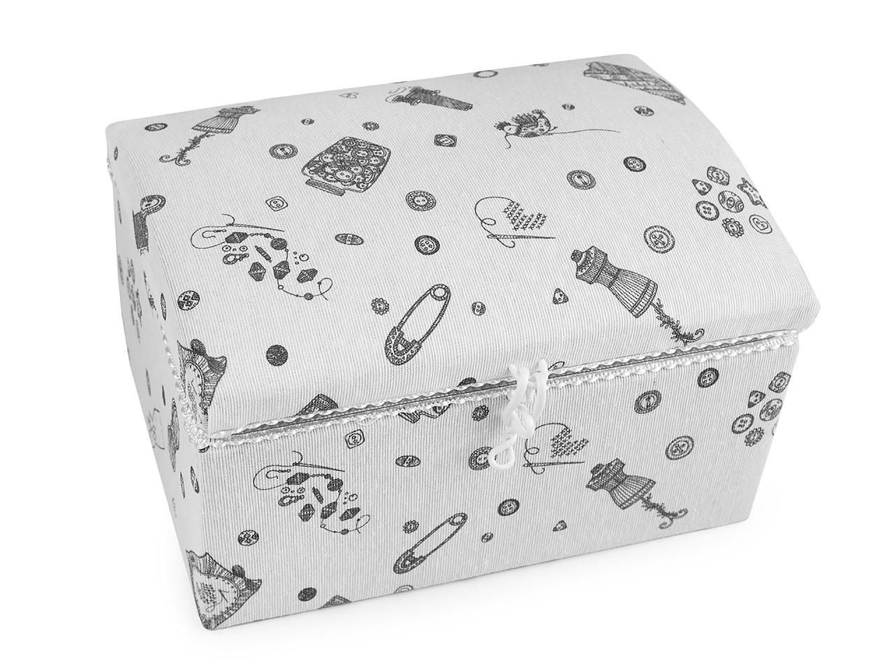 Kazeta / košík na šití čalouněný, barva 34 bílá šedá