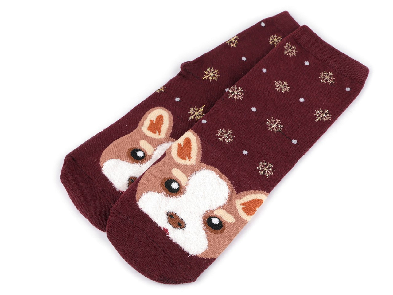 Dětské ponožky pes, barva 1 vínová