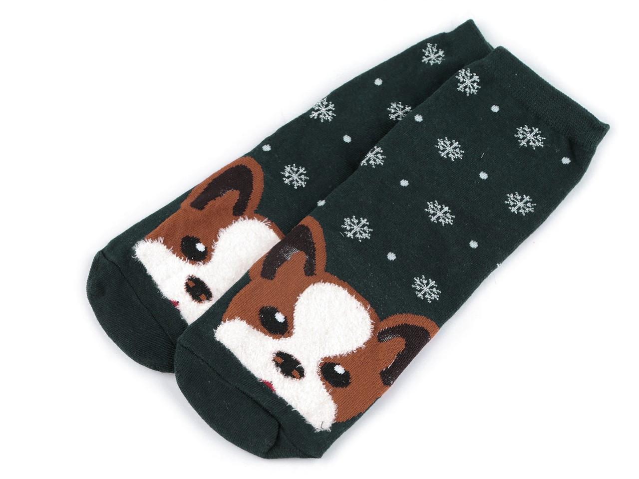 Dětské ponožky pes, barva 2 zelená tmavá