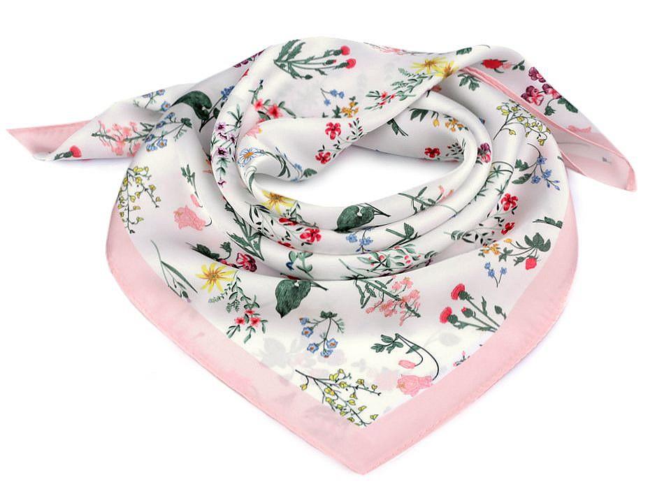 Saténový šátek luční květy 50x50 cm, barva 1 pudrová