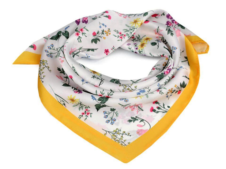 Saténový šátek luční květy 50x50 cm, barva 2 žlutá