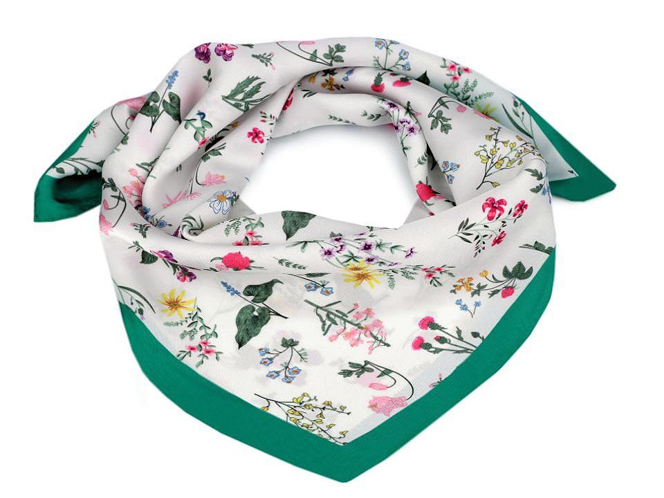 Saténový šátek luční květy 50x50 cm, barva 3 zelená smaragdová