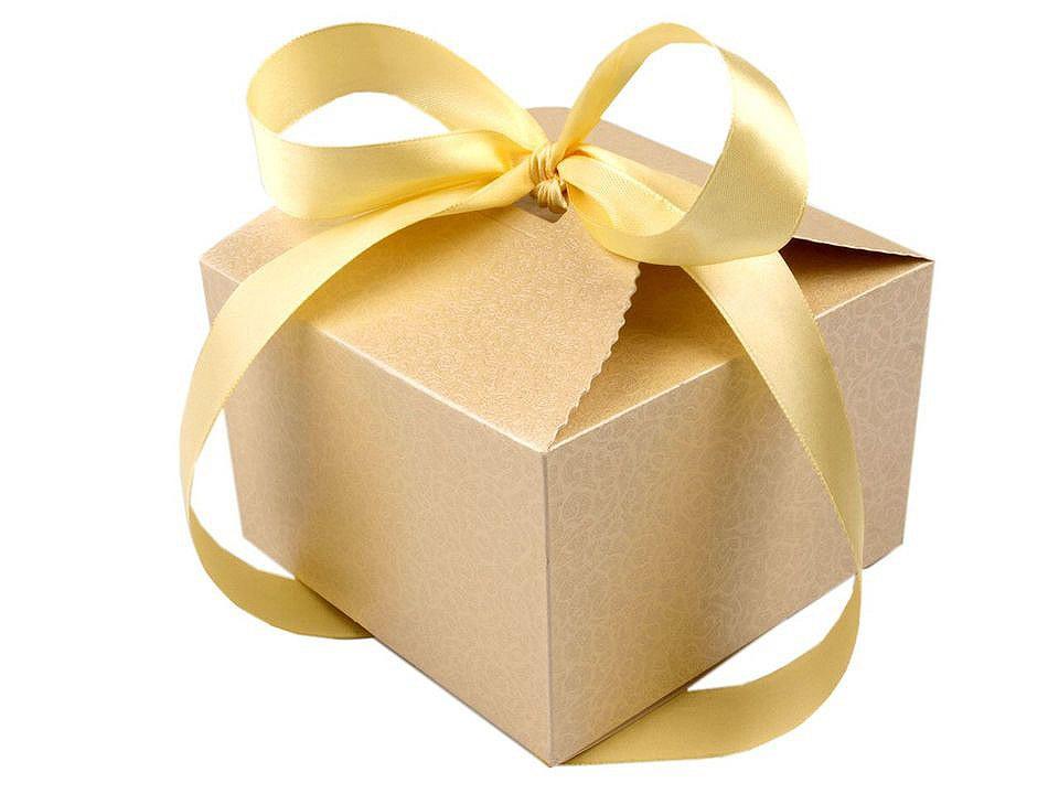 Papírová dárková krabička svatební se stuhou, barva 2 perleť krémová